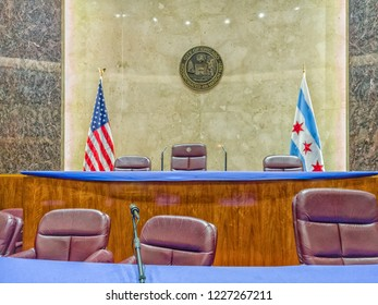 CITY HALL, CHICAGO-October 13, 2018: The City Council Chamber at the City Hall building where members vote on local legislation.
