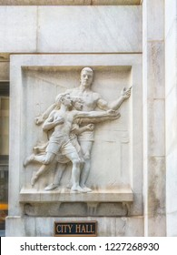 CITY HALL, CHICAGO-October 13, 2018: Neoclassical art is display on the exterior walls of the City Hall building located downtown in The Loop.