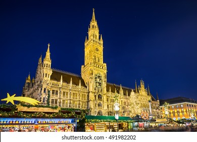 City Hall and Christmas market at night in Munich, Germany