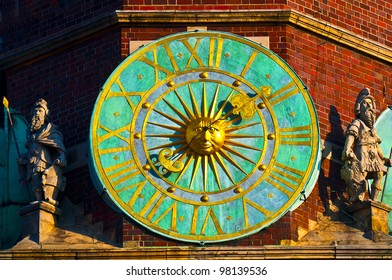 City hall clock, Wroclaw, Poland.