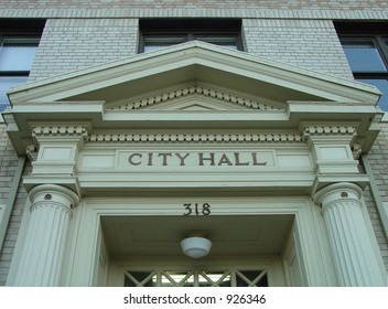 City Hall door header