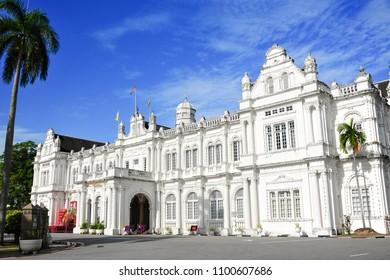 City Hall, Georgetown, Penang, Malaysia. Magnificent white, Edwardian style, heritage building contrasts with deep blue sky