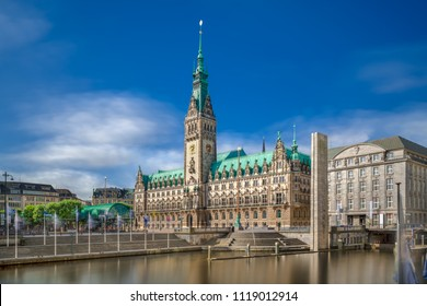 The City Hall (German: Rathaus) in downtown Hamburg, Germany, on the Rathausmarkt square on a sunny spring day.  It is the seat of the government of Hamburg.