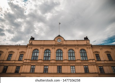 The city hall of Karlstad in sweden with a cloudy sky background