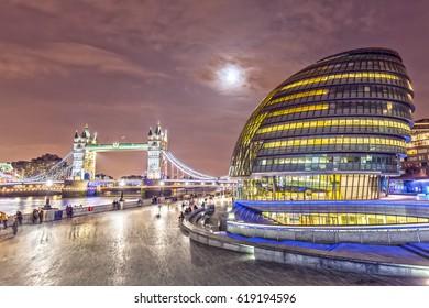 City Hall and London Tower Bridge at Night