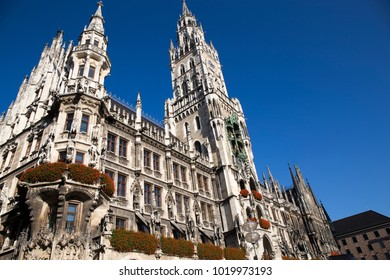 City hall at the Marienplatz in Munich, Germany on a beautiful day