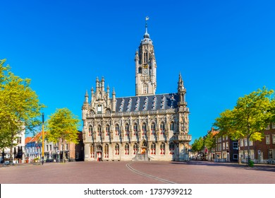 City Hall of Middelburg, Zeeland province, Netherlands. The late gothic styled building was completed in 1520. Middelburg is the capital of Zeeland.
