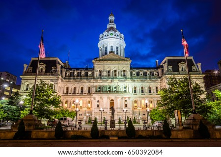 City Hall at night, in downtown Baltimore, Maryland.