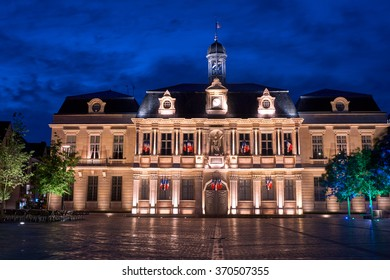 City Hall at night in Troyes, France