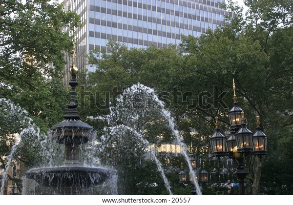 City Hall Park with Fountain in Manhattan New York City