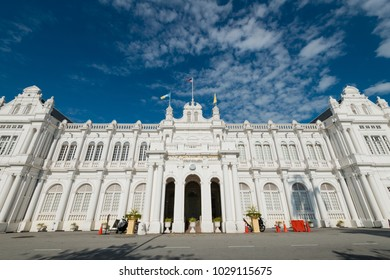 City hall of Penang in Malaysia. Front view of the white building which is one of the most famous tourist attractions in Penang.