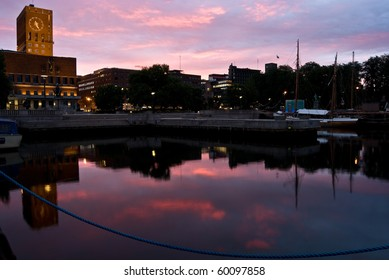 City Hall (Radhuset) and harbor, Oslo, Norway in sunrise light