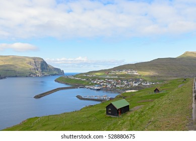 The city and harbor of Eidi, Faroe Islands, Denmark
