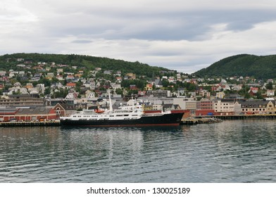 The city and Harbor of Harstad, Norway.