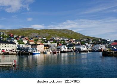 City and harbor, Honningsvag, Nordkapp municipality, Norway