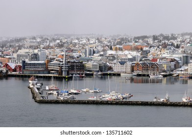 The city and harbor of Tromso, Norway