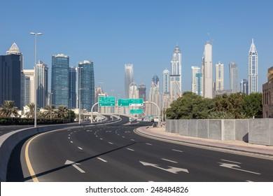 City highway in Dubai, United Arab Emirates