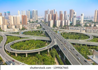 city highway interchange with blue sky, aerial view of modern traffic background.Wuhan, the largest transportation and economic hub city in central China.