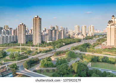 city highway interchange in shanghai on traffic rush hour