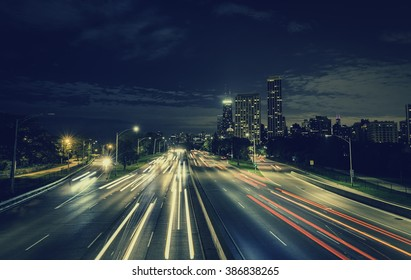 City Highway at night. Long exposure