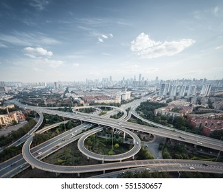 city highway overpass in tianjin, high angle view