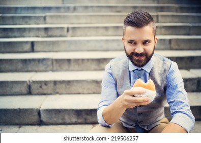City hipster businessman