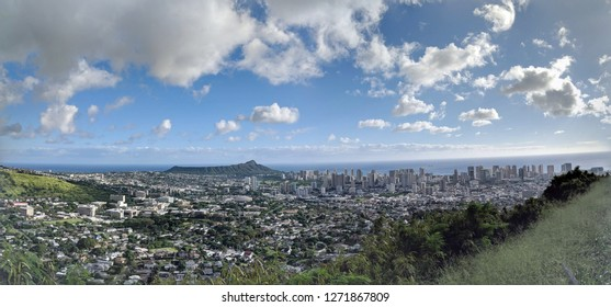 The city of Honolulu from Diamond head to Manoa with Kaimuki, Kahala, and oceanscape visible on Oahu on a nice day at viewed from high in the mountains with tall trees in the foreground.