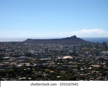 The city of Honolulu from Diamond head to Manoa with Kaimuki, Kahala, and oceanscape visible on Oahu on a nice day viewed from high in the mountains.  Seen from Round Top Drive Lookout.