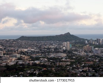 The city of Honolulu from Diamond head to Manoa with Kaimuki, Kahala, and oceanscape visible on Oahu on a nice day at dusk viewed from high in the mountains with tall trees in the foreground.