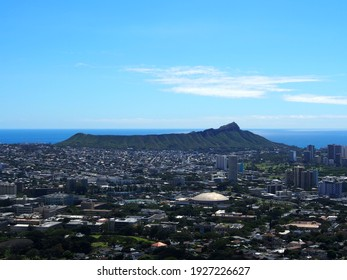 The city of Honolulu from Diamond head to Manoa with Kaimuki, Kahala, and oceanscape visible on Oahu on a nice day from high in the mountains.