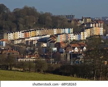 City housing on the Bristol skyline in winter UK