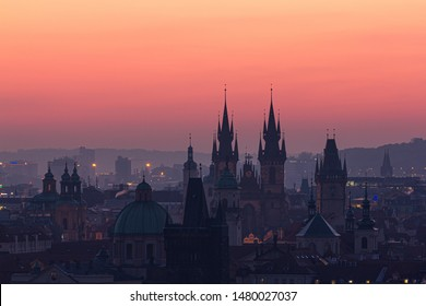 City of hundreds towers, Prague. Early morning before sunrise in this very popular tourist destination. Amazing contrast of new and old architecture.