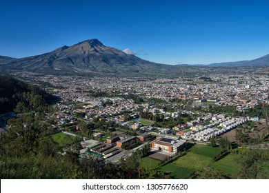 the city of Ibarra seen from above in Ecuador