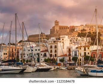 City of Ibiza, Spain. Old area of Dalt Vila, Santa María Cathedral and marina. It is a very touristic area of shopping, restaurants and drinking places