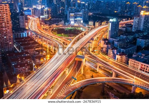 city interchange closeup at night , beautiful transport infrastructure background