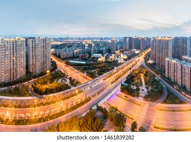 city interchange in nightfall at xian, road junction panorama , China