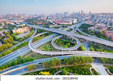 city interchange in tianjin , high angle view