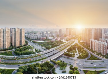 city interchange in xian,  road junction at dusk, China