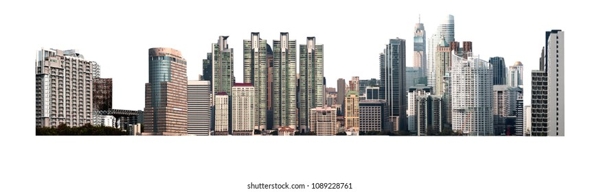 City isolated on white background modern building and tower