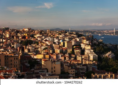 City of Istanbul at sunset in Turkey, Beyoglu district cityscape.