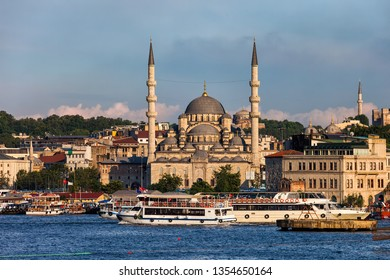 City of Istanbul in Turkey, historical Eminonu district from Golden Horn, New Valide Sultan Mosque (Turkish: Yeni Valide Sultan Camii) in the middle.