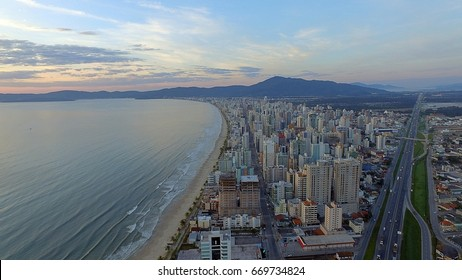 City of Itapema Brazil, beach, Half beach itapema Brazil, view of the city with drone, aerial view of Itapema