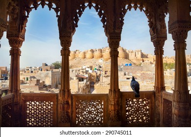 City and Jaisalmer fort view from the old Haveli balcony in Rajasthan, India
