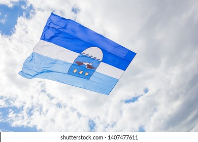 City Jurmala, Latvian Republic. Jurmala city flag with bird. Travel photo. 2019. 25. May