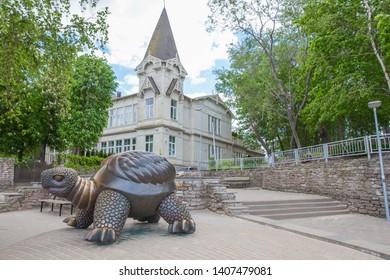 City Jurmala, Latvian Republic. Sculpture turtle with house. Jurmala tourism place. Travel photo. 2019. 25. May