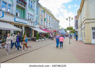 City Jurmala, Latvian Republic. Urban street view with tourists and buildings. Peoples walking in Jomas street. Travel photo. 2019. 25. May