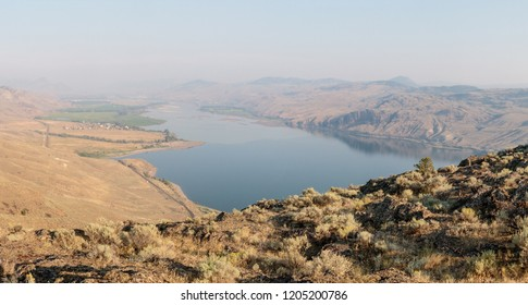 The city of Kamloops and the Thompson River seen from Battle Bluffs, British Columbia, Canada