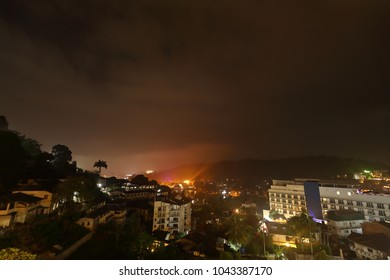 The city of Kandy in Sri Lanka at night