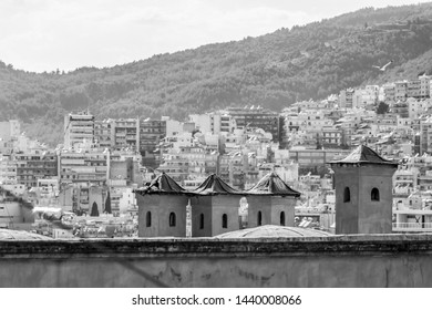 The city of Kavala, Eastern Macedonia, Northern Greece behind four chimneys of the Imaret