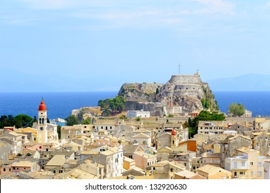 City of Kerkyra, aerial photo of town with old Byzantine fortress, Corfu, Greece